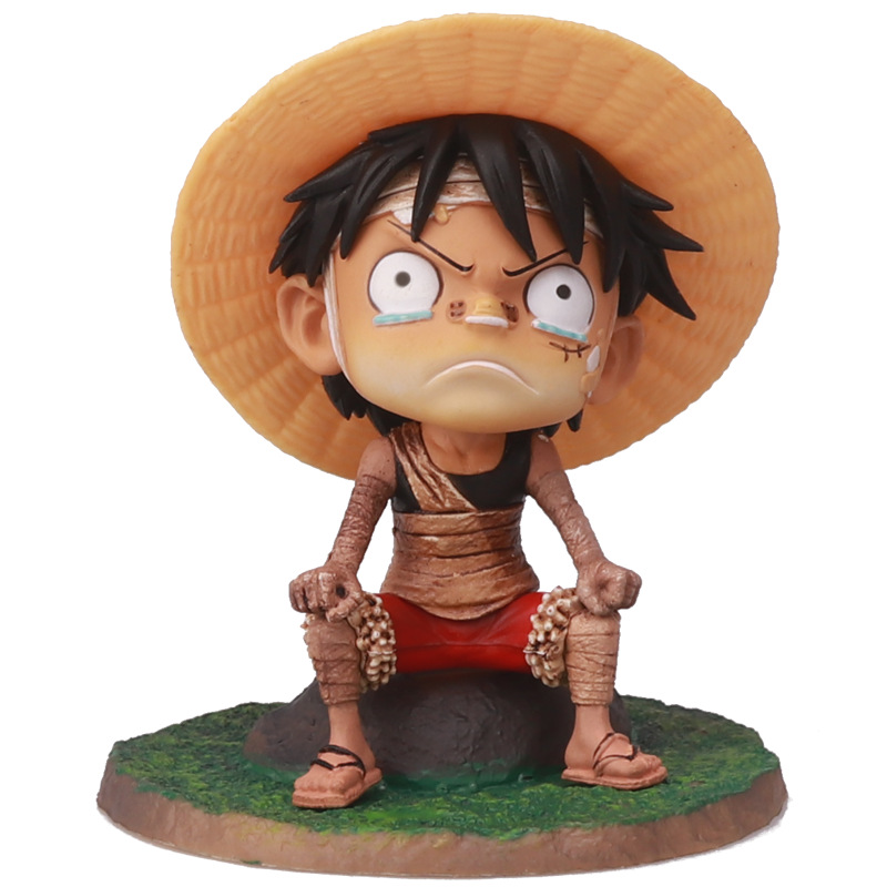 12cm Anime OP Luffy Childhood Bandaged Crying Style PVC Action Figures OP Luffy Zoro Sanji Collectibles Model Toys Dolls gifts image