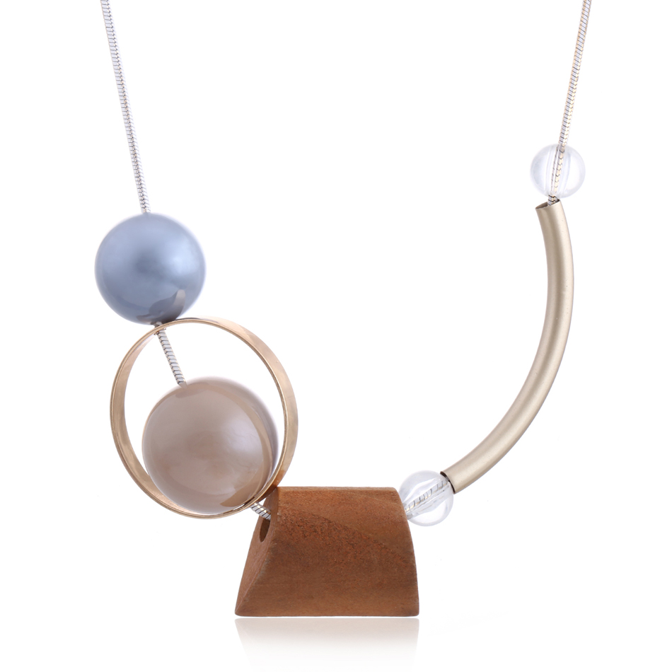 Fashion Women Girl Necklace Statement Pendants Wood Beads Necklaces Jewelry Gift