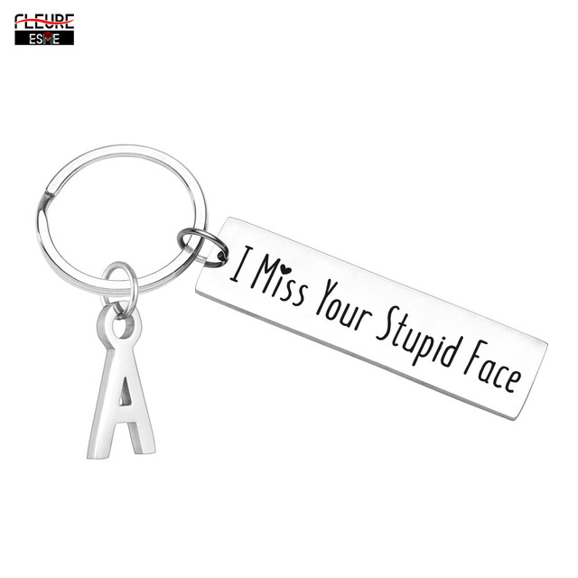 I Miss You Initials Keychain Anniversary Valentine Gifts Friendship Gifts for Boyfriend Girlfriend Husband Wife Best Friends