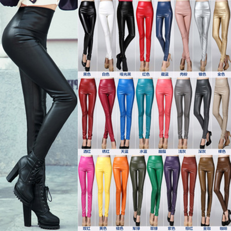 Autumn Winter Women Elastic PU Leather Velvet High Waist Thick Warm Leggings Slim Pencil Pants Plus Size Colorful Trousers