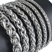 Davieslee Bracelet for Men Spiga Plait Wheat Link Chain Stainless Steel Men's Bracelet Jewelry 3-10mm DKBM161
