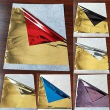 Imitação de ouro prata dourado folha de alumínio folha papel 100 folhas/pacote 14*14cm arte artesanato papel diy decoração