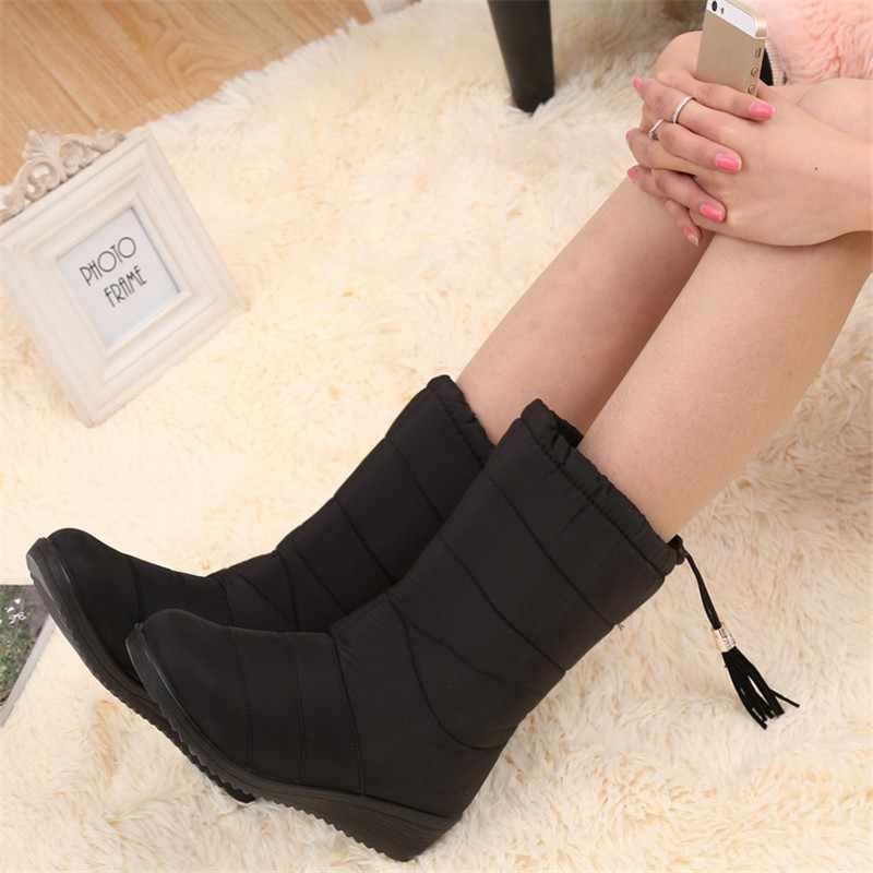Hiver femmes bottes mi-mollet bas bottes femme imperméable dames bottes de neige filles chaussures d'hiver femme en peluche semelle Botas Mujer