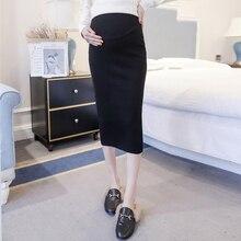 Осенние растягивающиеся вязаные юбки для беременных с регулируемой талией, юбки для беременных, визуальное уменьшение бедер, юбки до середины икры для беременных