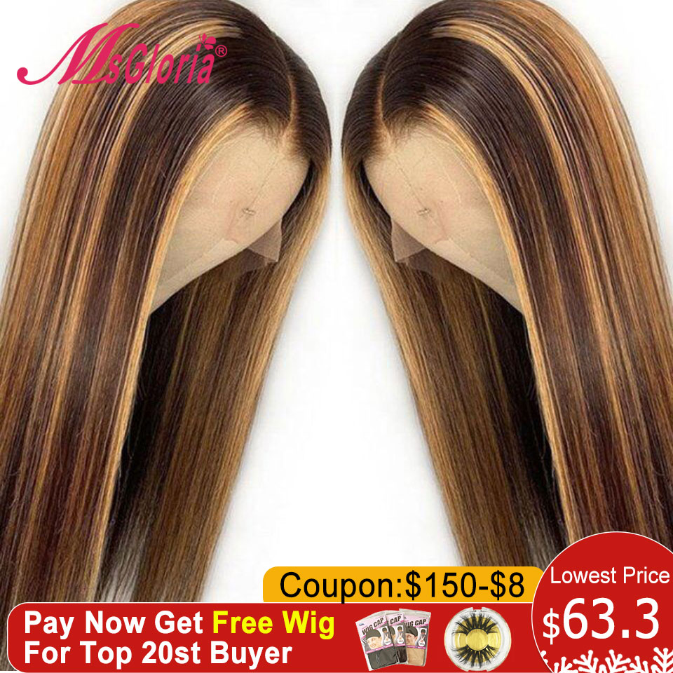 150% Honey Blonde Lace Front Wigs For Women Straight Brazilian Remy Hair Ombre #27 Mix Color 13x6 Lace Front Human Hair Wigs