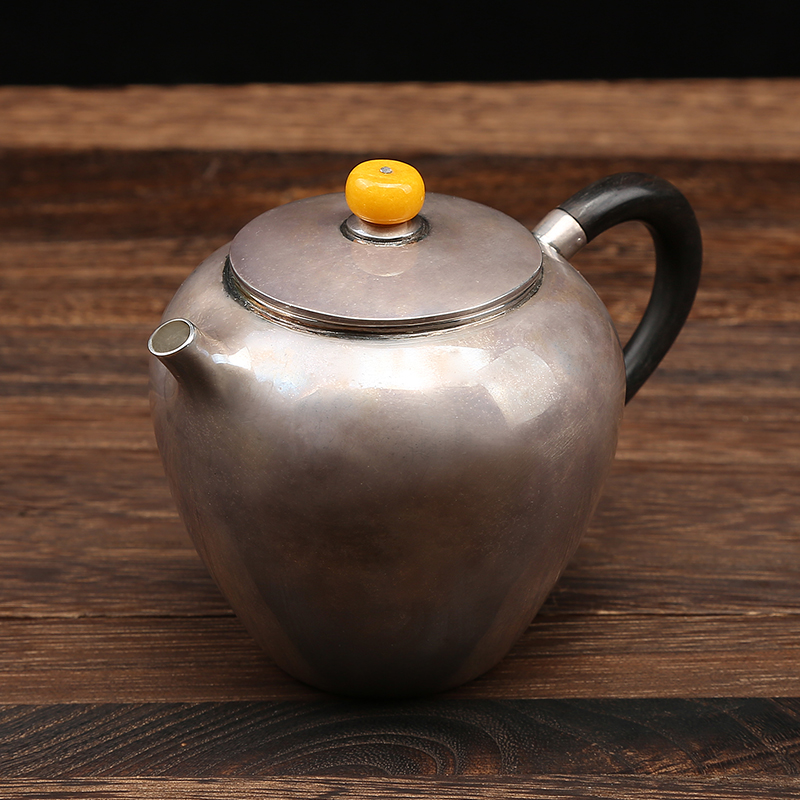 Silver kettle 999 handmade old sandalwood handle anti scald household Kung Fu small teapot silver kettle|Teapots| |  -