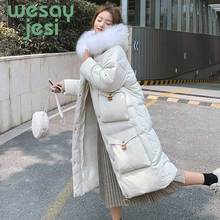купить Winter Jacket Women long Thick Coat Fur collar Warm Hooded Parka Mujer 2019 Cotton Padded full-sleeve casual Women jacket Coat дешево