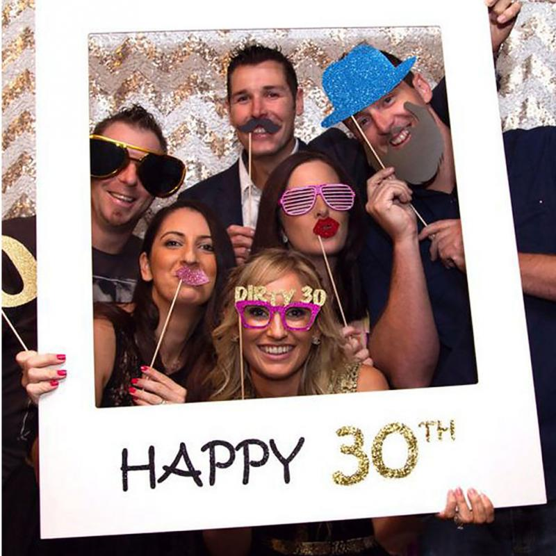 Happy Paper Photo Booth Props Photo <font><b>Frame</b></font> Anniversary <font><b>30</b></font> years Birthday Decorations Party Gift 1/16/18/<font><b>30</b></font>/35/<font><b>40</b></font>/50/60th image
