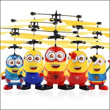 Mainan Edukasi Drone RC Pesawat Helikopter Mini Drone Terbang Berkedip Helikopter Kontrol Tangan RC Mainan Minion Quadcopter Drone LED(China)