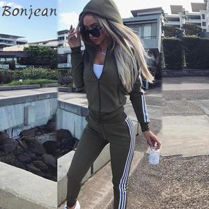 Women Set Pants Suits Outfits Hoodies Sweatshirt Sportwear Crop-Top Two-Piece 2pieces-Sets
