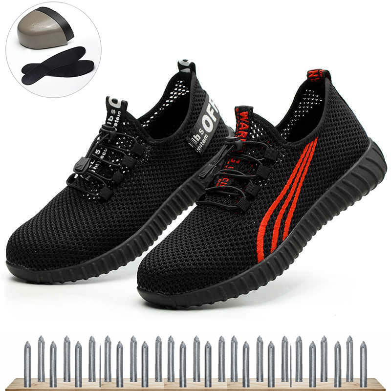 Breathable Men Steel Toe Work Safety Boot Summer Shoes For Anti-smashing Construction Sneaker Male