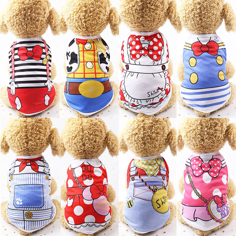 12 Patterns Cartoon Summer Dog Clothes Puppy Shirts Chihuahua Teddy Pet Clothes For Small Dogs Cute Cat Vest Shirt Clothing