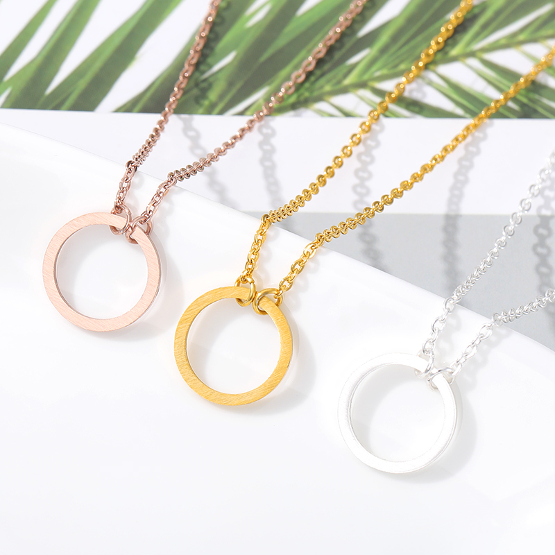 Dainty Small Eternity Karma Necklace Amistad Gift Simple Round Circle Charm Choker Collar Colgante Graduación Joyas Mujeres