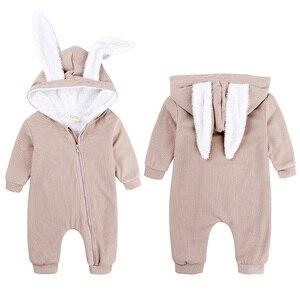 Image 2 - חורף תינוק Romper יילוד ילד ילדה סרבל תינוקות תלבושות חם פעוט בגדי סרבל חמוד ארנב תלבושות עבור 0 18 חודשים