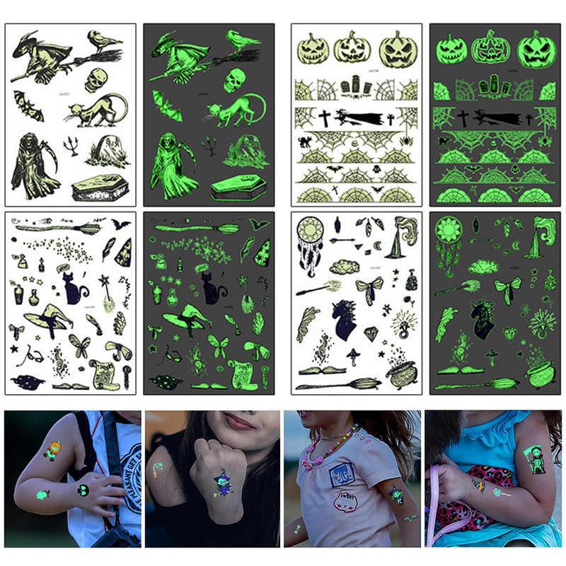 Halloween luminosa lápide temporária falsa tatuagem rocooart tatuagem brilhante no escuro à prova dhallowágua tatuagem etiqueta halloween bruxa