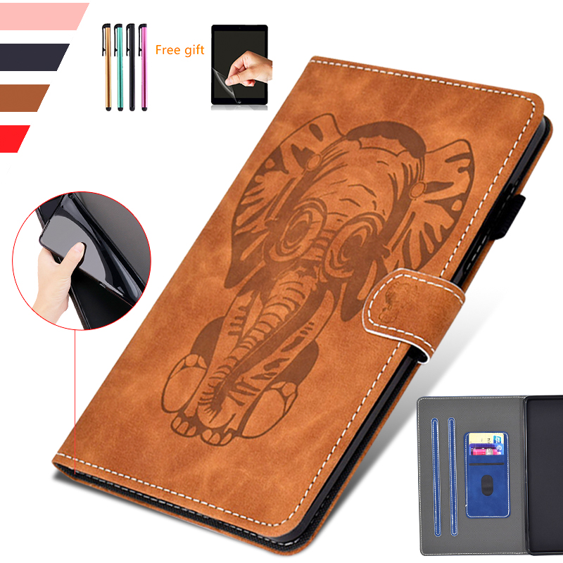Cute Elephant Case For Samsung Galaxy Tab A 8.0 T350 T355 Smart 3D Embossing PU Leather Tab A SM T355 Wallet Case+ Film + Stylus