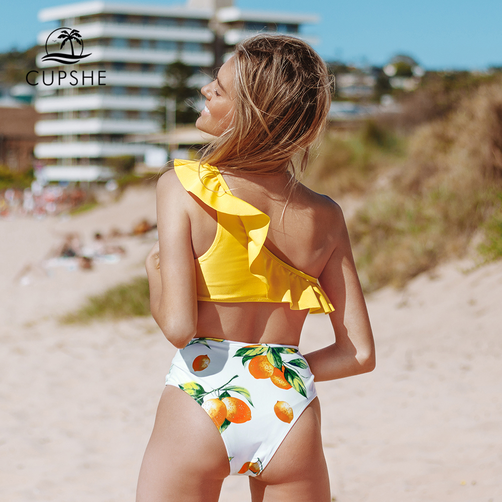 Image 4 - CUPSHE Yellow Lemon Print One Shoulder High Waisted Bikini Sets Sexy Swimsuit Two Pieces Swimwear Women 2020 Beach Bathing SuitsBikini Set   -