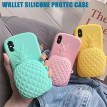 Cute Candy Color 3D Pineapple Coin Purse Soft Silicone Back Cover For iPhone X XS XR Max 8 8Plus 7 7Plus 6S 6SPlus Phone Case