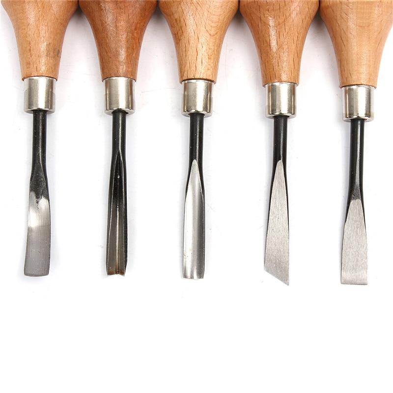 5pc/set Wood Carving Chisels Set Knife Butt/Corner/Skew/Round/Arc Machete Woodcut Woodworking Craft Graver Cutter DIY Hand Tool