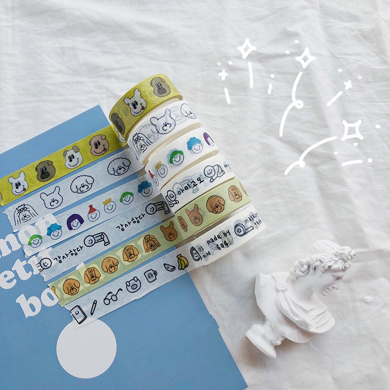 SIXONE Ins Cartoon Cute Bear Hand Tear Washi Tape Korea Student Kawaii Notebook Hand Account Diy Decorative Tapes School Tools