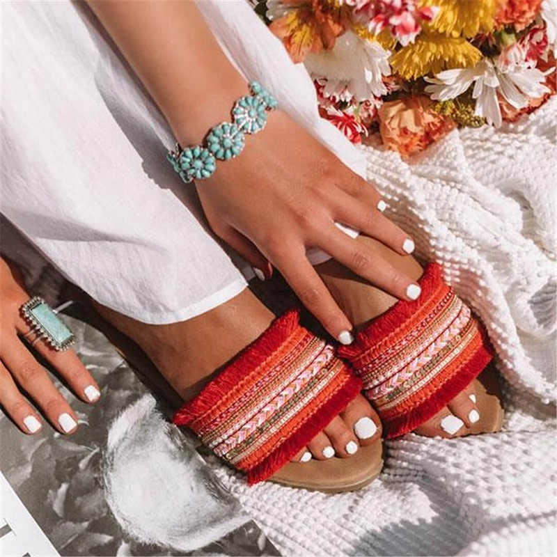 Vrouwen Slippers 2020 Zomer Nieuwe Rome Retro Sandalen Platte Casual Schoenen Vrouwelijke Misstap Slides Vrouw Plus Size Sandalias Mujer