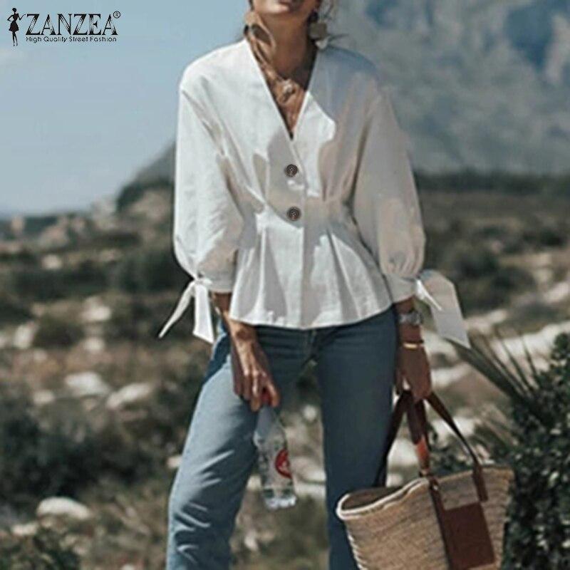 ZANZEA Office Work OL Shirts 2020 Women Tops Blouses Fashion Puff Sleeve V Neck Blusas Cotton Solid Slim Waist Chemiser Mujer