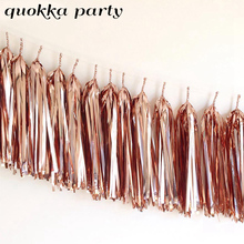 Розовое золото бумажное украшение для свадьбы, фольга, кисточка, гирлянда, металлический тканевой баннер, детский душ, вечерние украшения, д...