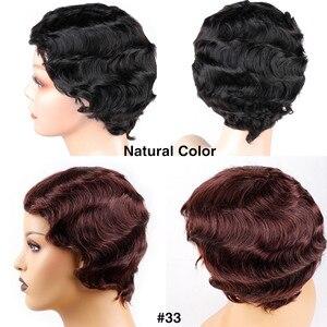 Image 4 - Bling saç kısa okyanus dalgası peruk brezilyalı Pixie kesim Bob parmak dalga peruk makinesi yapımı İnsan saç peruk kadınlar için doğal renk