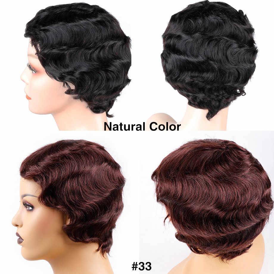Bling saç kısa okyanus dalgası peruk brezilyalı Pixie kesim Bob parmak dalga peruk makinesi yapımı İnsan saç peruk kadınlar için doğal renk