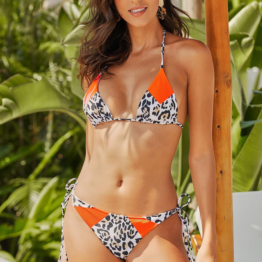 Halter Sexy Bikini Set Swimwear Women Bandage Swimsuit Push Up Biquini Feminino Bikinis 2020 Bathing Suit Female Beachwear 4