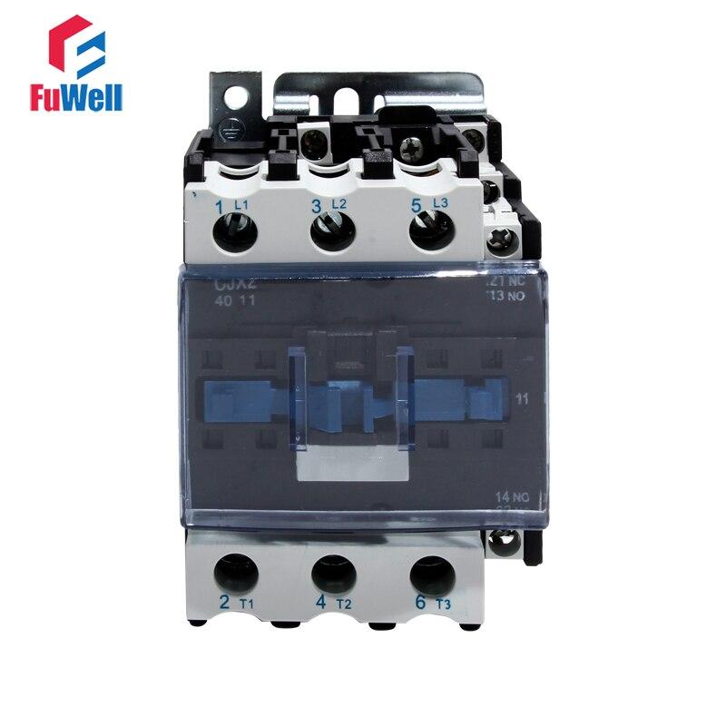 CJX2-4011 40A AC Contactor NO NC Coil Voltage Contactor 24V 36V 110V 220V 380V Normal Open Closed Alternating Current Contactor