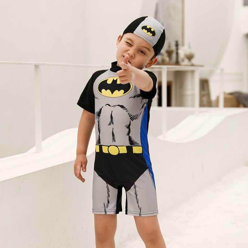 Anak Pakaian Renang Anak Kartun Cetak Anak Laki-laki Satu Potong Pakaian Renang dengan Topi untuk Bayi Anak-anak Anak-anak Pola Cetak Baju Renang