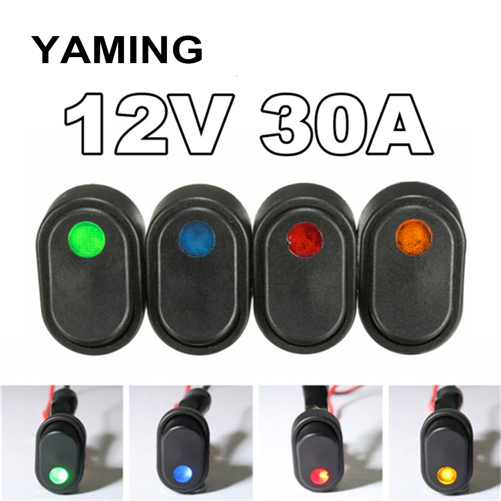 12V 30A Led Light DIY Rocker Toggle Switch SPST ON-OFF For Car Modification Truck Van Boat Push Button 3pins Black(China)