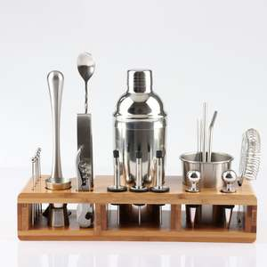 Barware-Kit Shaker-Set Wooden-Rack Party-Bar-Tools Bartender Drink Cocktail Stainless-Steel