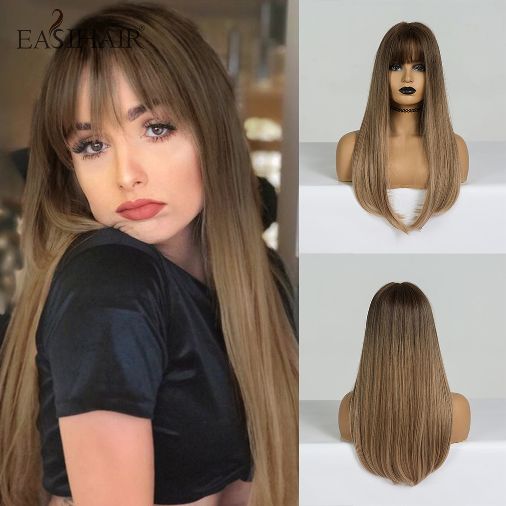EASIHAIR Long Straight Brown Ombre Synthetic Wigs With Bangs For Woman Afro High Density Heat Resistant Natural Hair Wigs
