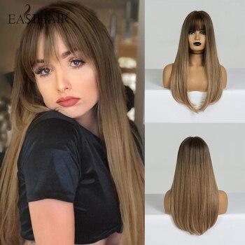 EASIHAIR pelucas largas rectas de color marrón oscuro sintético con flequillo para mujer Afro alta densidad resistente al calor pelucas de pelo Natural
