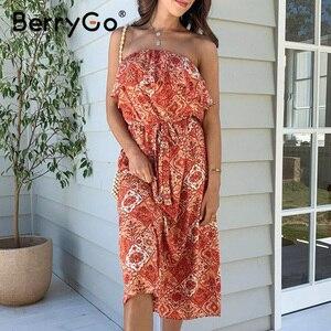 Image 2 - BerryGo bez rękawów kobiety sukienka boho Sexy bez ramiączek potargane kwiatowy print letnia sukienka wysokiej wais sash wakacje plaża sukienka kobieta