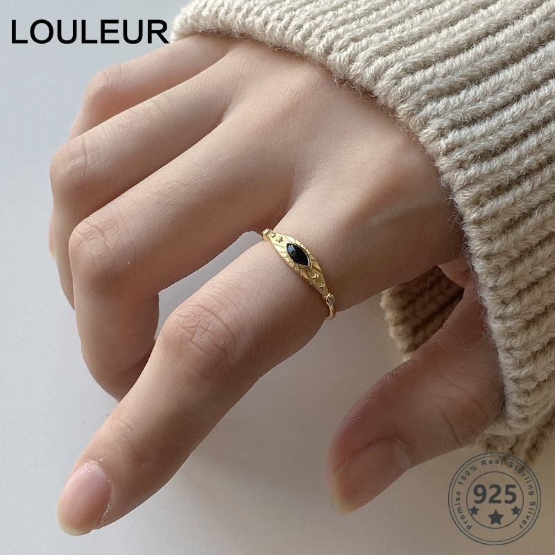 LouLeur Real 925 Sterling Silver Black Eye Rings Minimalist Female Golden Opening Rings For Women Fashion Luxury Jewelry Gifts