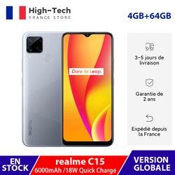 Глобальная версия realme C15 смартфон 4 Гб Оперативная память 64 Гб Встроенная память 6000 мА/ч, Батарея 18 Вт Quick Charge 13MP Quad Камера 6,5 дюймов полный экр...