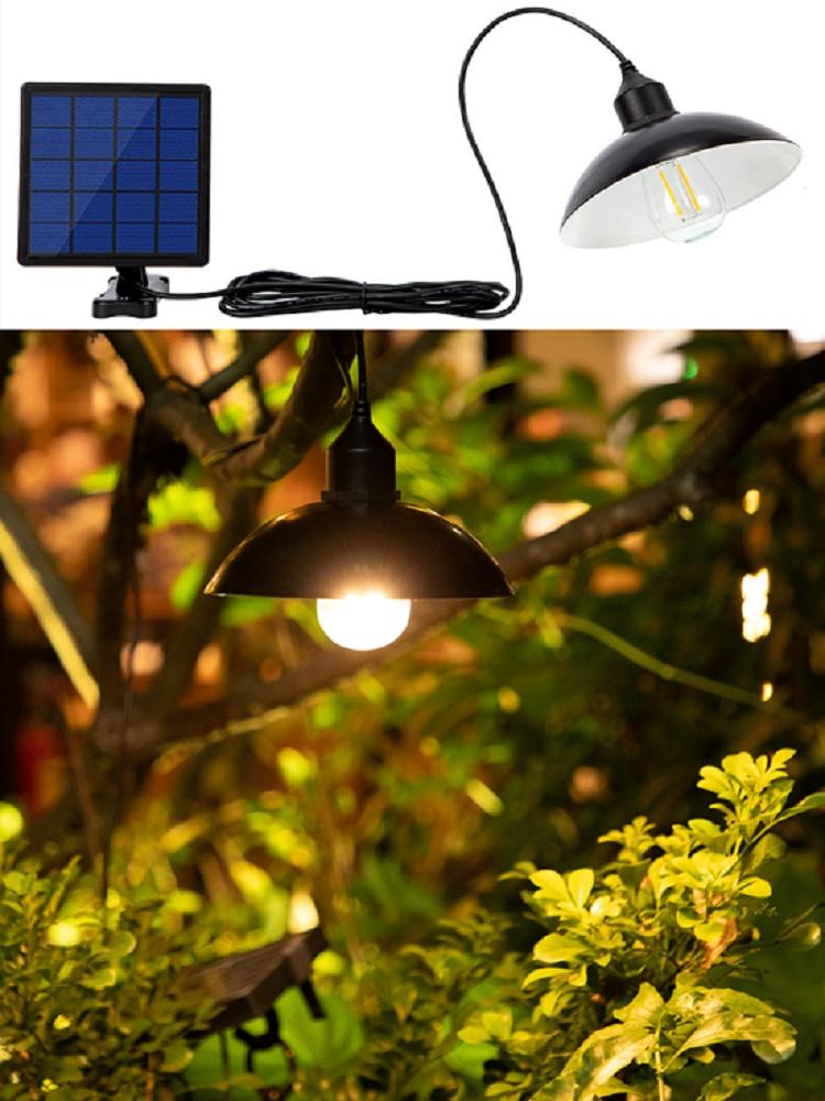 Chandelier Cord-Lamp Pendant-Lights Retro-Bulb Solar-Battery Garden