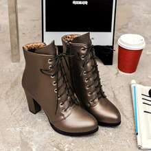 fashion genuine leather lacing boots New round toe zip mid calf boots women Ankle Boots