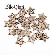 Scrapbooking en bois naturel, 20 pièces/lot, 28x30mm, motif étoile, artisanat creux en bois, bricolage, charme, décoration de la maison