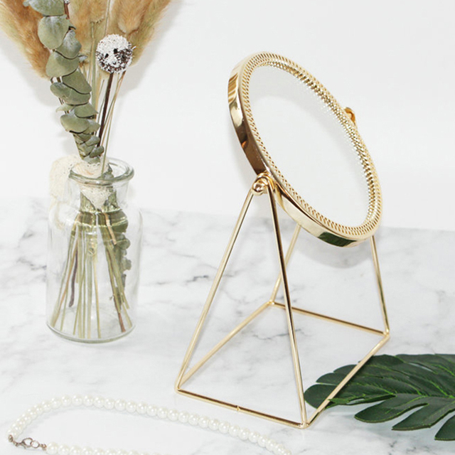 Metal Decorative Mirror Lady Desktop Makeup Mirror Crafts Three-Dimensional Princess Mirror Home Decor Accessories 2
