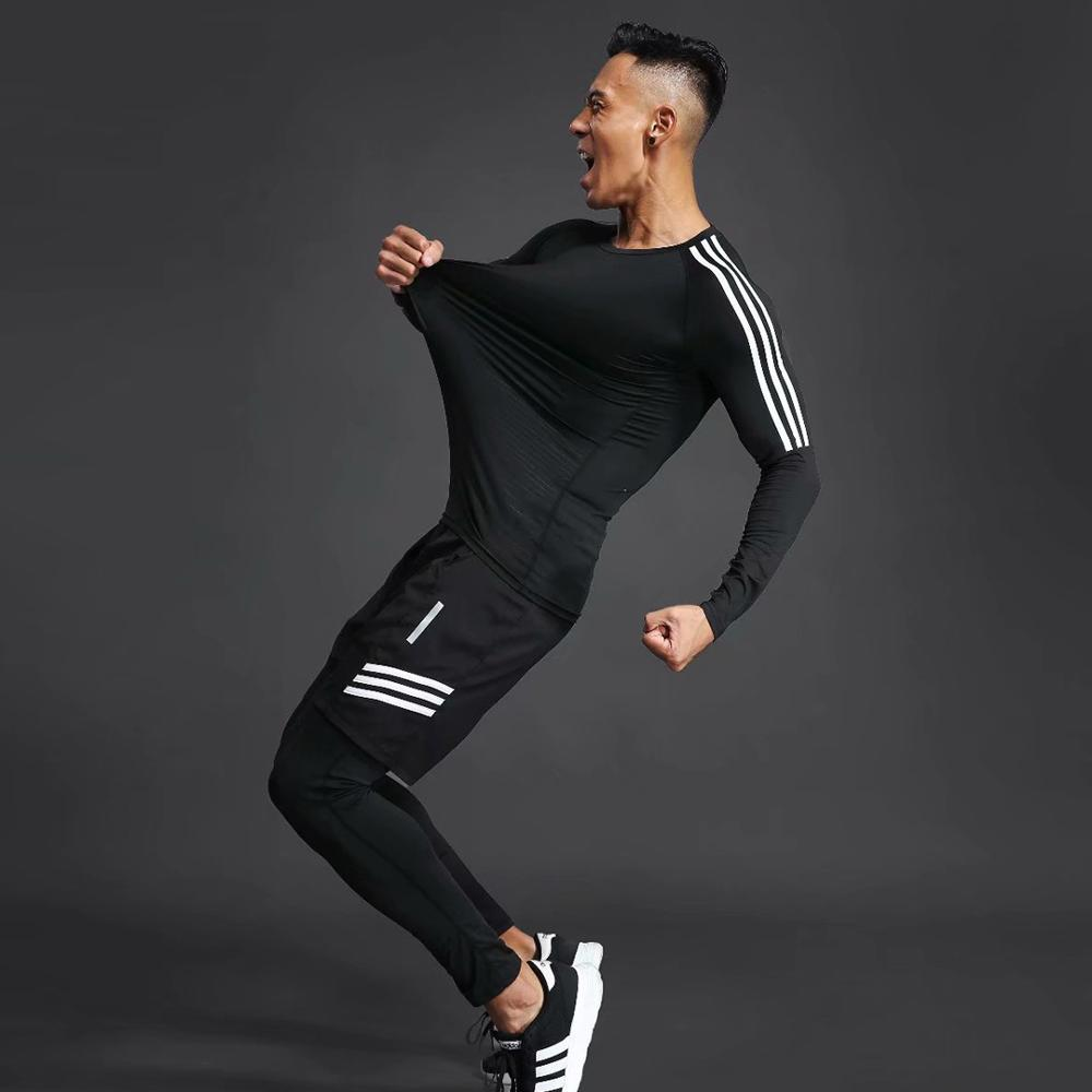 Man Sports Suit Quick drying Sweat Compression Fitness Training MMA Kit rashguard Male Sportswear Jogging Running Clothes in Running Sets from Sports Entertainment