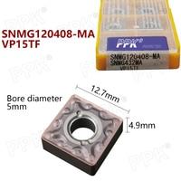 Aletler'ten Torna Takımı'de 10 adet karbür insert SNMG120408 MA VP15TF metal torna torna aracı SNMG120408 CNC makinesi parçaları freze kesicisi torna araçları