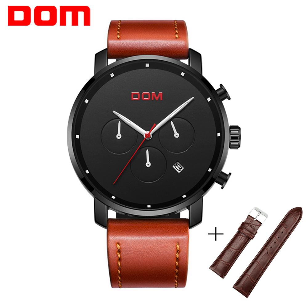 DOM Fashion Mens Watches Top Brand Luxury Big Dial Military Quartz Watch Leather Waterproof Sport Chronograph Watch Men M-1216