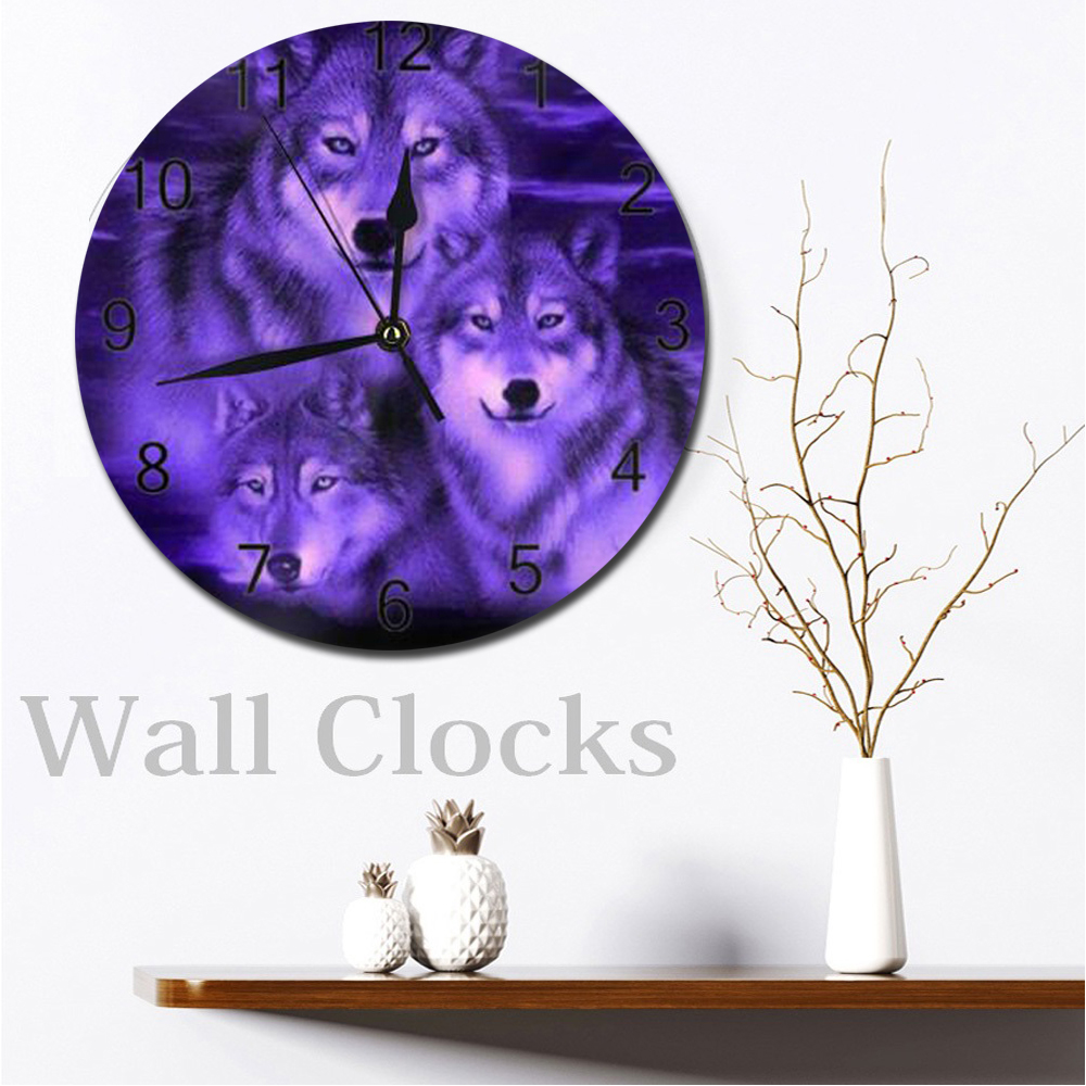Wolf 25CM Big Wall-Clocks Decorative Numeral Digital Dial Mute Silent Non-Ticking Battery Operated Clocks For Children's Bedroom