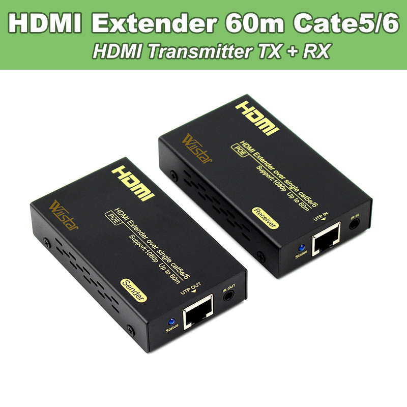 Wiistar HDMI Extender Cate5/6 HDMI Transmitter Receiver TX RX RJ45 60M 1080p 3Dover Cat 5e/6 RJ45 Ethernet Converter