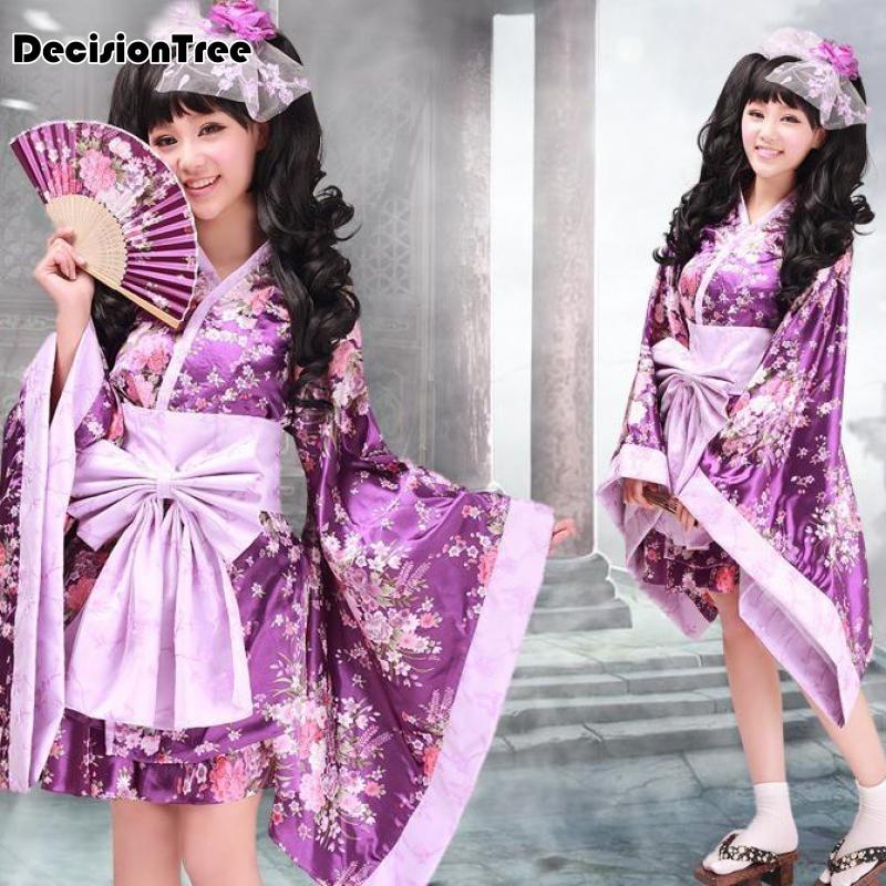 2019 Vintage Traditional Female Silk Rayon Kimono Yukata With Obi Sexy Purple Japanese Women Evening Dress Halloween Cosplay Cos