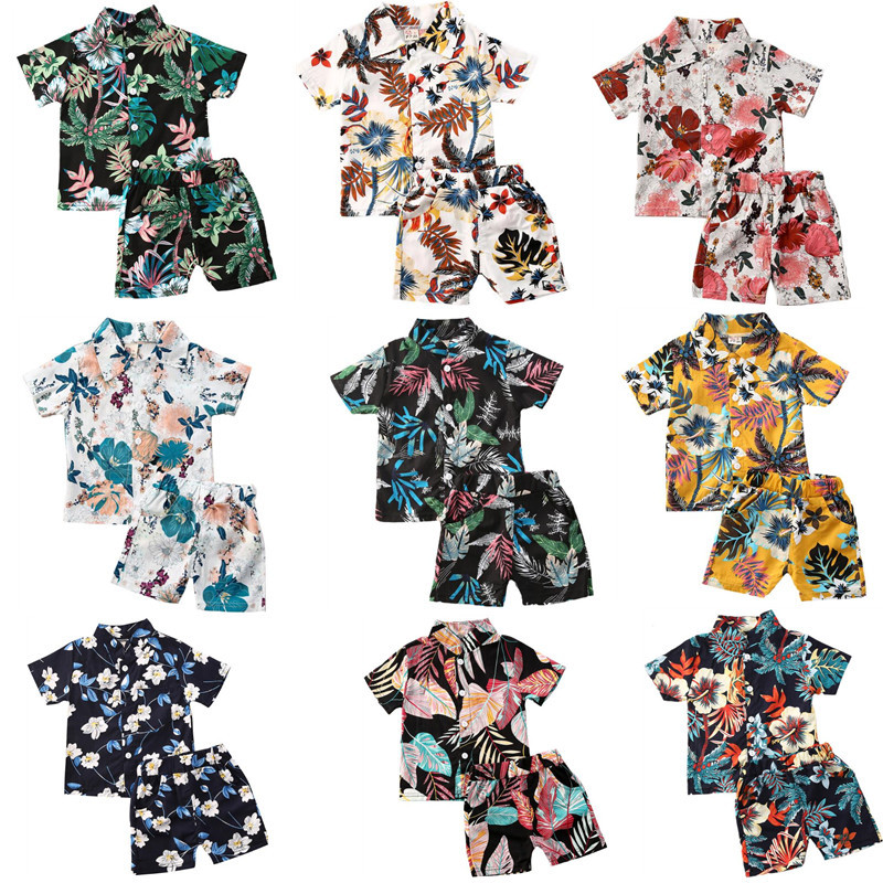 Summer Infant Baby Boys Clothes Sets 10 Colors Hawaii Leaves Floral Print Short Sleeve T Shirts Tops+Shorts Holiday 2Pcs Outfit